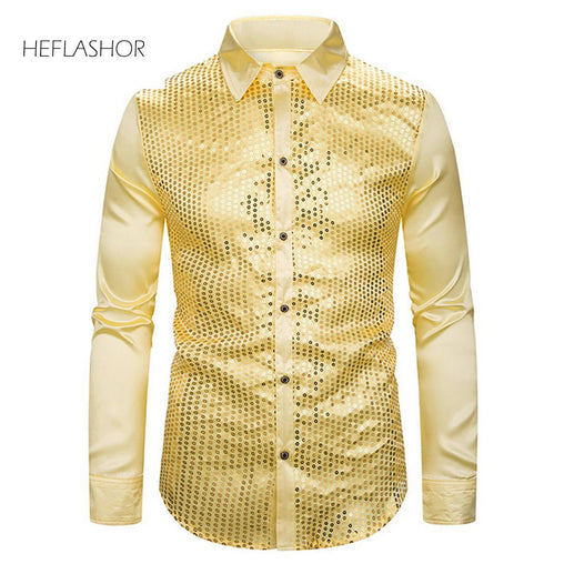 HEFLASHOR Men's Luxury Sequin Glitter Shirts New Long Sleeve Silk Satin Shiny Disco Party Shirt Men top Stage Dance Prom Costume