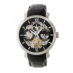 Heritor Automatic Aries Skeleton Leather-Band Watch - Black/Gold - GENT.ONE