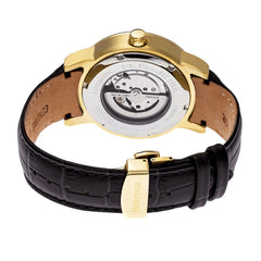 Heritor Automatic Romulus Leather-Band Watch - Rose Gold/Black - GENT.ONE