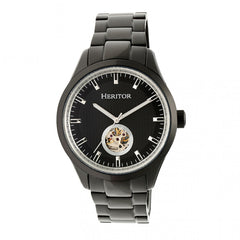 Heritor Automatic Crew Semi-Skeleton Bracelet Watch - Black