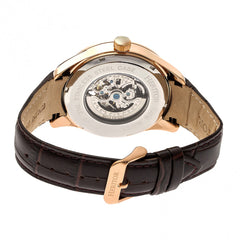 Heritor Automatic Crew Semi-Skeleton Leather-Band Watch - Rose Gold/Black
