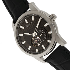 Heritor Automatic Davidson Semi-Skeleton Leather-Band Watch - Silver/Black