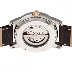 Heritor Automatic Davidson Semi-Skeleton Leather-Band Watch - Rose Gold/Silver
