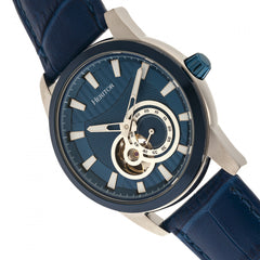 Heritor Automatic Davidson Semi-Skeleton Leather-Band Watch - Blue