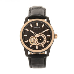 Heritor Automatic Davidson Semi-Skeleton Leather-Band Watch - Rose Gold/Black