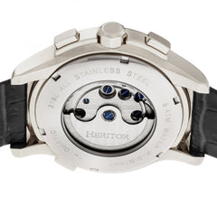 Heritor Automatic Hudson Semi-Skeleton Leather-Band Watch w/Day/Date - Black/Silver