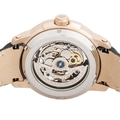 Reign Matheson Automatic Skeleton Dial Leather-Band Watch - Black/Rose Gold