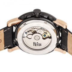 Reign Stavros Automatic Skeleton Leather-Band Watch - Rose Gold/Black