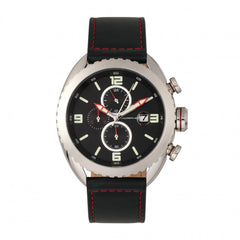 Morphic M64 Series Chronograph Leather-Band Watch w/ Date - Silver/Black