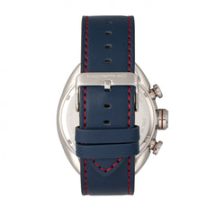 Morphic M64 Series Chronograph Leather-Band Watch w/ Date - Silver/Blue