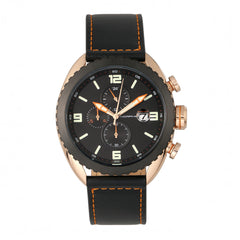 Morphic M64 Series Chronograph Leather-Band Watch w/ Date - Rose Gold/Black