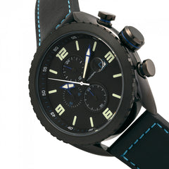 Morphic M64 Series Chronograph Leather-Band Watch w/ Date - Black/Blue