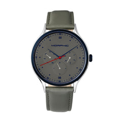 Morphic M65 Series Leather-Band Watch w/Day/Date - Grey
