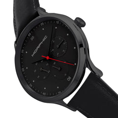 Morphic M65 Series Leather-Band Watch w/Day/Date - Black