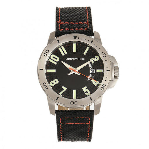 Morphic M70 Series Canvas-Overlaid Leather-Band Watch w/Date - Silver/Black