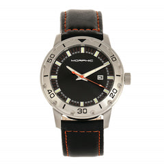 Morphic M71 Series Leather-Band Watch w/Date - Silver/Black