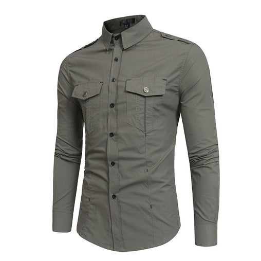 Men Long Sleeve Cargo Shirt Camisa Masculin Slim Fit Casual Turn Down Collar Shirt Pocket Khaki Male Fashion Shirts Men Clothing