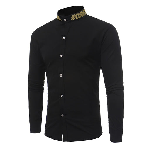 Men Long Sleeve Shirt Camisa Masculin Embroidery Neck Slim Fit Casual Turn Down Collar Shirt Male Fashion Shirts Men Clothing