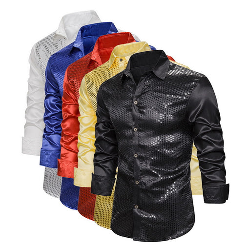 Men's shirt Luxury Sequin Glitter Shirts New Long Sleeve Silk Satin Shiny Disco Party Shirt Men top Stage Dance Prom Costume
