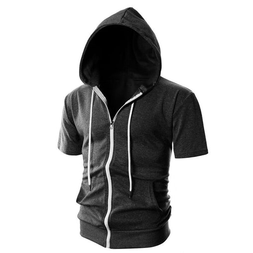 New fashion Men autumn Hoodie Solid Color O-neck Streetwear 2019 Short Sleeve Hoodies Hip-hop Casual Hoody Hoodies Homme H021