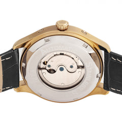 Reign Gustaf Automatic Leather-Band Watch - Black/Gold