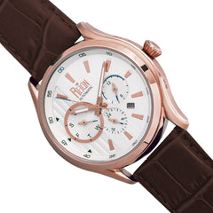 Reign Gustaf Automatic Leather-Band Watch - Brown/Rose Gold
