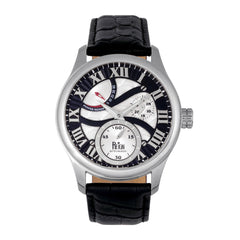 Reign Bhutan Leather-Band Automatic Watch - Silver/Black