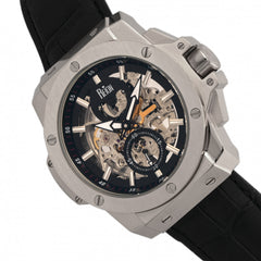 Reign Commodus Automatic Skeleton Leather-Band Watch - Silver/Black