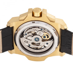 Reign Commodus Automatic Skeleton Leather-Band Watch - Gold/Silver