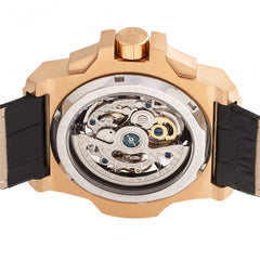 Reign Commodus Automatic Skeleton Leather-Band Watch - Rose Gold/Black