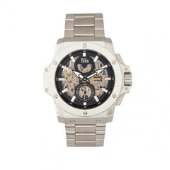 Reign Commodus Automatic Skeleton Bracelet Watch - Silver/Black