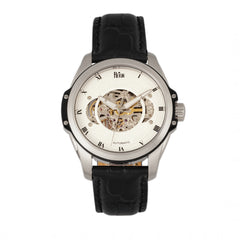 Reign Henley Automatic Semi-Skeleton Leather-Band Watch - Black/White