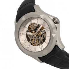 Reign Dantes Automatic Skeleton Dial Leather-Band Watch - Silver