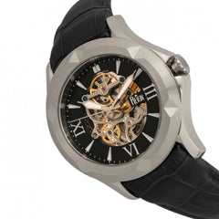 Reign Dantes Automatic Skeleton Dial Leather-Band Watch - Silver/Black