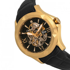 Reign Dantes Automatic Skeleton Dial Leather-Band Watch - Gold/Black