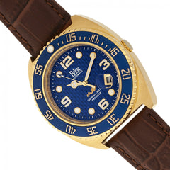 Reign Quentin Automatic Pro-Diver Leather-Band Watch w/Date - Gold
