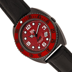Reign Quentin Automatic Pro-Diver Leather-Band Watch w/Date - Black