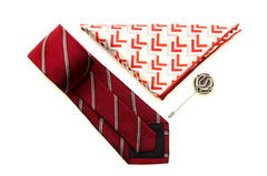 Red Stripe Silk Tie Set with Pocket Square and flower lapel pin from Ocean Boulevard