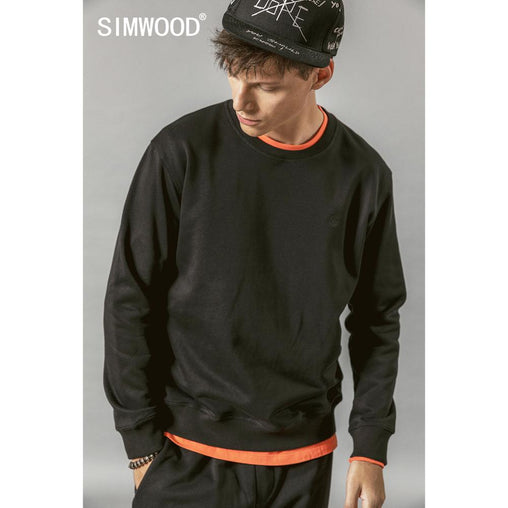 SIMWOOD 2019 Autumn New Hoodies Men Casual Minimalist Sweatshirt O-neck Embroidery logo Plus Size Basic Pullover