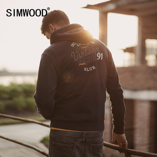 SIMWOOD 2019 Autumn New Letter Embroidered Printed Zip-Up Hoodies Men Joggers Tracksuit Indigo Hooded Plus Size Sweatshirt