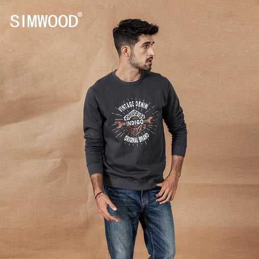 SIMWOOD 2019 Autumn Winter New Letter Print hoodies men vintage casual o-neck Indigo dye 100% cotton Jogger Sweatshirt
