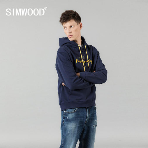 SIMWOOD 2019 autumn winter new hooded hoodies 100% cotton letter Mountain print contrast color  sweatshirts plus size