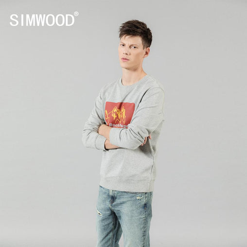 SIMWOOD 2019 autumn winter new hoodies men o-neck print 100% cotton jogger sweatshirts high quality plus size brand clothing