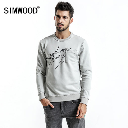 SIMWOOD Brand Hoodies Men 2019 autumn New Fashion Slim Fit Letter Print O-Neck Sweatshirts Male Plus Size Tracksuit