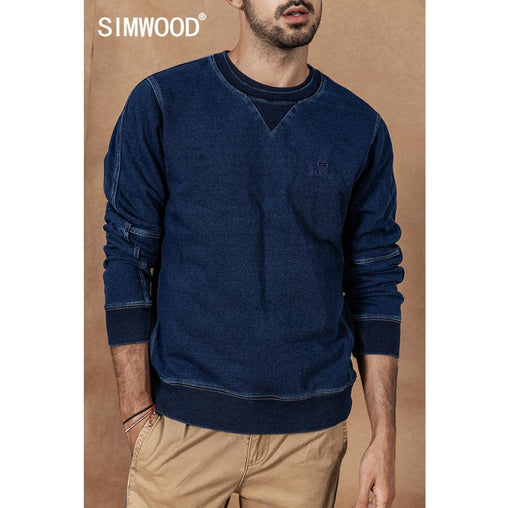 SIMWOOD Indigo Hoodie Men 2019 Autumn Winter new Vintage washed embroidery patchwork Pullover  O-neck Plus Size cotton Hoodies