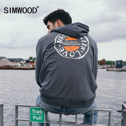 SIMWOOD autumn Hoodies Men Letter Graphic Print Casual Slim Streetwear Brand Clothing Men Sweatshirts Plus Size Hoodies 180535