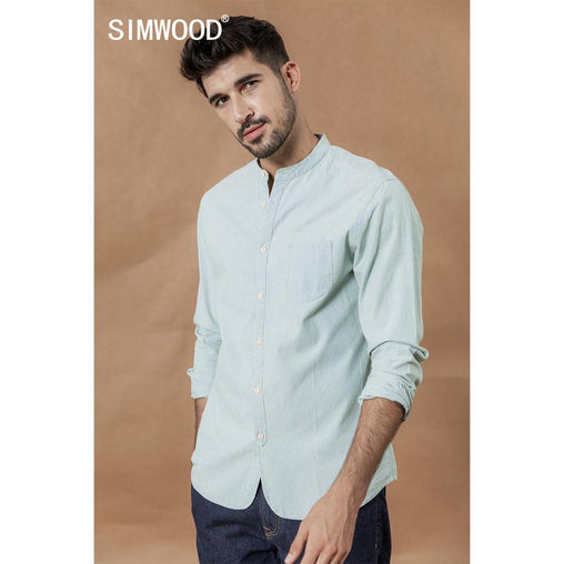 SIMWOOD stand collar Vertical striped shirts men 100% cotton classical denim slim fit minimalist casual shirt