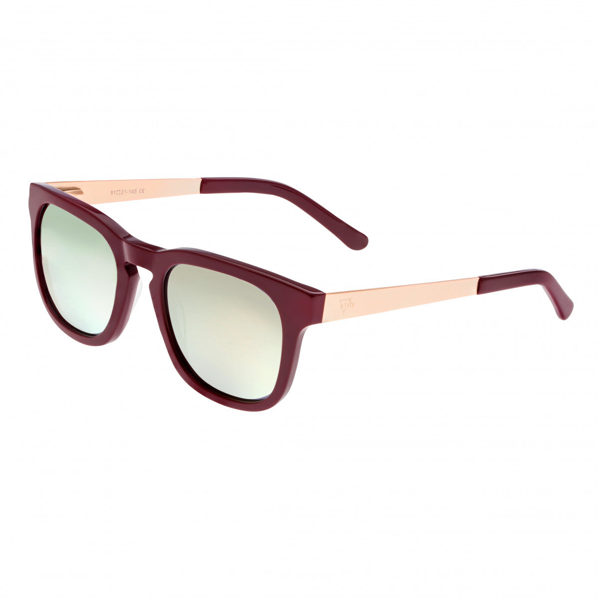 Sixty One Twinbow Polarized Sunglasses - Burgandy/Gold