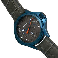 Breed Tempe Leather-Band Watch w/Day/Date - Gray/Blue