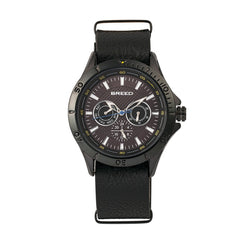 Breed Dixon Leather-Band Watch w/Day/Date - Black